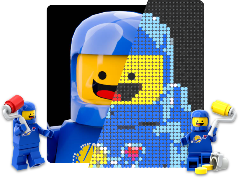 A minifig being turned into a mosaic